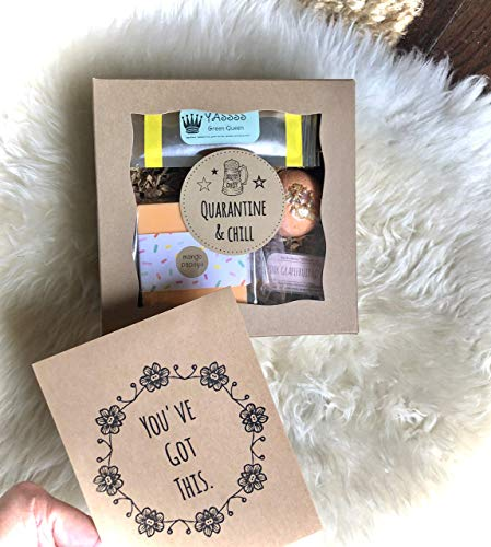 Quarantine and Chill: Self Care Gift Set, Encouragement Gift for Friend, Funny Quarantine Gift for BFF, Spa and Beauty Set for Relaxation