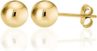 14K Yellow Gold Filled Round Ball Stud Earrings Pushback Available from 2mm - 9mm