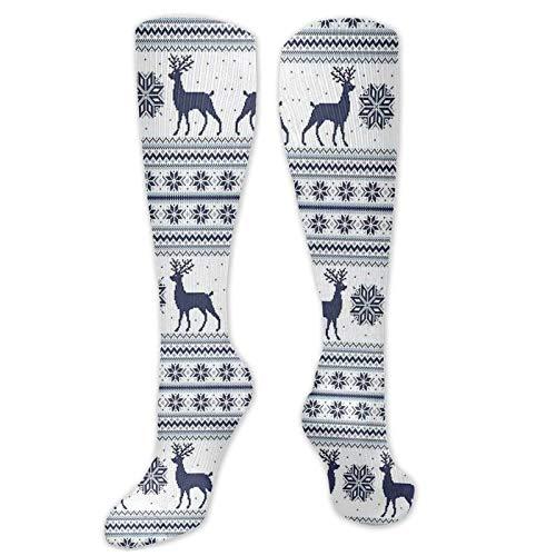 Calcetines personalizados, diseño de Navidad con motivos de renos y copos de nieve, calcetines para mujeres y hombres, ideal para correr, atletismo, senderismo, viajes, vuelo