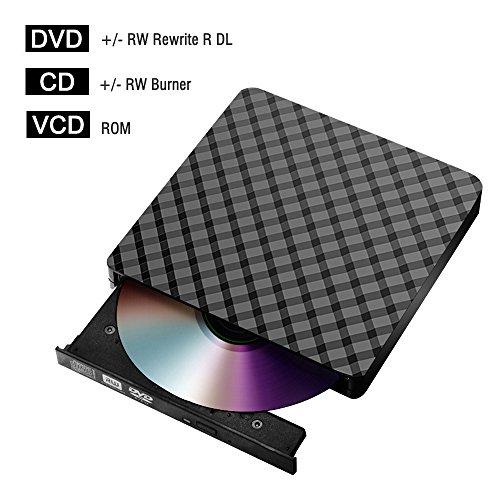 External CD DVD Drive for Laptop USB 3.0, Portable CD DVD +/-RW Drive Slim DVD/CD ROM Rewriter Burner Writer for Laptop/MacBook/Desktop/MacOS/Windows10/8/7/XP/Vi