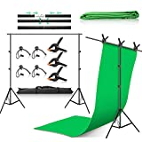 ZUOCHEN Backdrop Stand 6.6x9.8ft/2x3m Background Stand 6.6x6.6ft/2x2m Photography T-Shape Background Stand Backdrop Support System Kit with 5.9x9.2ft Green Backdrop 7 Clip Carry Bag for Photo Video