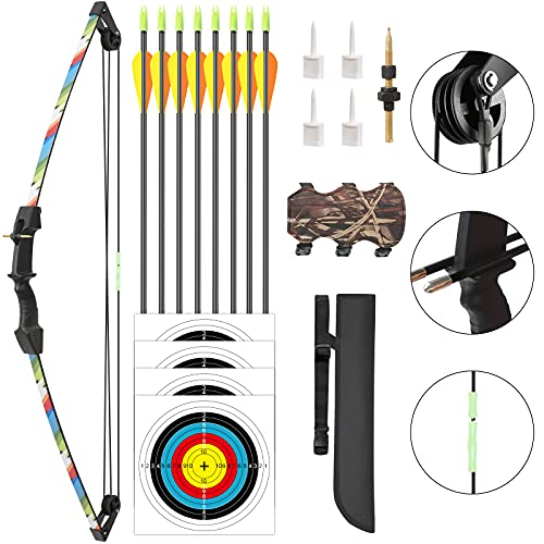 Aimdor Archery Bow and Arrow Set Youth Compound Bow and Arrow Practice Bow Kids Bow Birthday Gift Bow Left and Right Hand Bow Beginner Bow with 8 Arrows and Quiver for Outdoor Play Camo