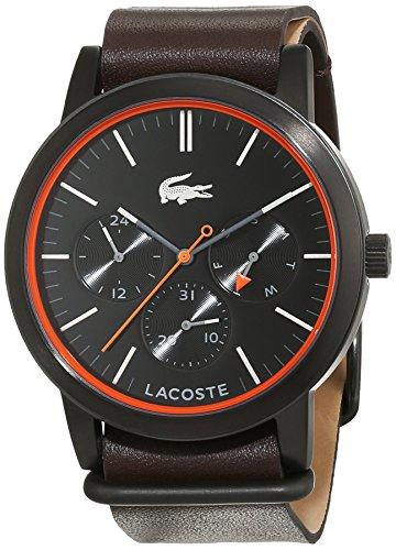 Lacoste 2010877 - Reloj análogico de cuarzo con correa de cuero para hombre, color negro/marrón