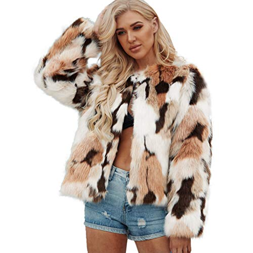 Best Prices! NANTE Top Loose Women's Blouse Warm Faux Wollen Coat Jacket Winter Turn Down Collar Outerwear Overcoat Womens Tops Clothes (Khaki, XL)