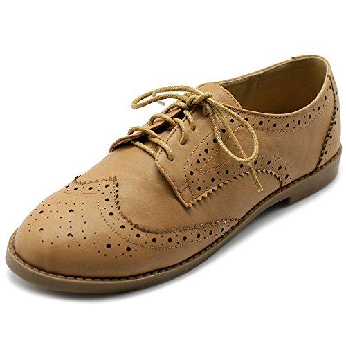 Ollio Women's Flats Shoes Wingtip Lace Up Oxfords M2921 (10 B(M) US, Sand)