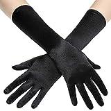 Coucoland Damen Handschuhe Satin Classic Opera Fest Party Audrey Hepburn Handschuhe 1920s Handschuhe Damen Lang Kurz Elastisch (Schwarz/38cm)