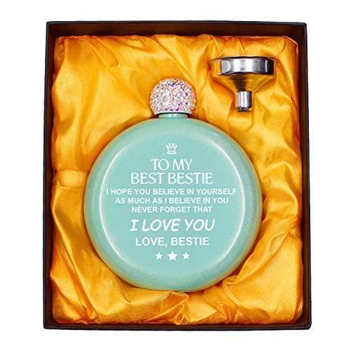 Engraved Flask Sets For Women, Personalized 304 Stainless Steel with Crystal Lid 5oz Flask For Girls Party Valentine