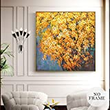 KWzEQ Flor Amarilla Abstracta Moderna Lienzo Dorado Pintura Paisaje Cartel Sala de Estar decoración del hogar,Pintura sin Marco,45x45cm