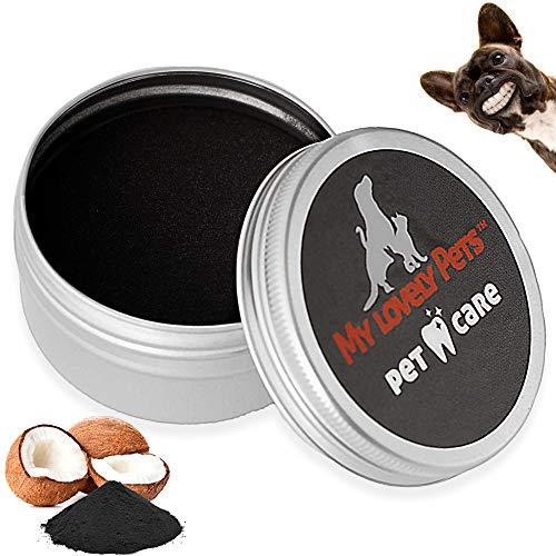 Zahnsteinentferner Zahnpflege Pulver für Hunde und Katzen, Zahnpulver - 100% Natürliche Aktivkohle Mittel gegen Zahnstein Hund - 40ml Zahnreinigung bei Gelben Zähnen, Mundgeruch und Plaque