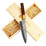 Forseti Steel Itamae 7' Santoku Damascus Steel Chef Knife | Japanese Style Handle Made from Olive Wood and Rosewood | Handmade