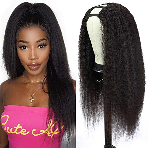 U Part Wigs Human Hair Kinky Straight Wig, 16 inch Italian Half Wig Remy Yaki Straight Wigs for Black Women Human Hair 2x4 U Shape Clip in Human Hair Wigs