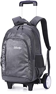 Shoulders Backpack Large Capacity for Middle School Students Reduced Load Trolley Bag Wear-Resistant Pulley Bag