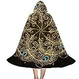 Donono Capa larga con capucha unisex para niños, diseño de mandala vintage, plumas de pavo real, disfraz de Halloween para fiestas, Negro, L