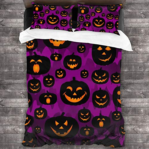 Lichenran Duvet Cover Set,Abstract Seamless Pumpkin Pattern For Girls,Boy, Kids, Halloween, Clothes,Decorative 3 Piece Bedding Set with 2 Pillow Shams,220 * 230cm*1