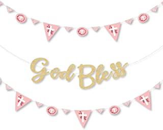 Pink Elegant Cross - Girl Religious Party Letter Banner Decoration - 36 Banner Cutouts and No-Mess Real Gold Glitter God Bless Banner Letters