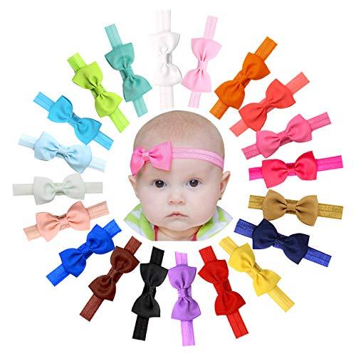 JOYOYO 20 Pcs Baby Headbands and Bows Elastic Headbands for Baby 275 Inch Ribbon Bows Baby Nylon Headbands Headwears for Babies Toddlers