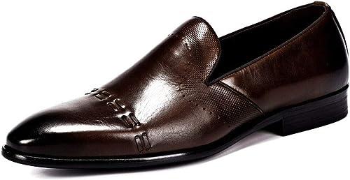 zapatos Lofer de Piel de Vacuno for hombres Punta rojoonda, transpirabilidad Slip Ons negro, marrón Británico Retro Negocio Formal Causual .zapatos de Moda