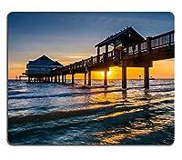 日没のクリアウォータービーチフロリダPM2402でメキシコ湾のマウスパッドマウスパッドゲームマウスパッド釣り桟橋