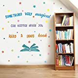 Something Very Magical Can Happen When You Read A Book Wall Decal, Colorful Stars Inspirational Quote Sticker for Classroom Kids Room Library Decor