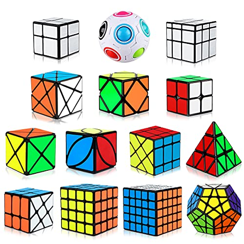 Dreampark Speed Cube Set, 14 Pack Cube Bundle 2x2 4x4 5x5 Megaminx Pyramid Skew Ivy Windmill Fisher Axis Dino Mirror Cube Magic Rainbow Ball Sticker Cube Puzzle Collection for Kids