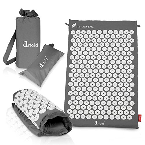 Artoid Mode Acupressure Mat Set - Regular Mat for Back Massage, Travel Mat for Neck Relax and Travel Use - Ideal for Stress and Pain Relief, Come with 2 Bonus Bags for Storage and Carry