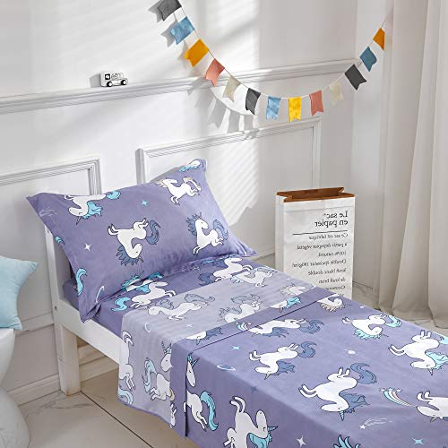Uozzi Bedding 3 Pieces Microfiber Toddler Sheet Set Blue-Gray (a Little Purple) Unicorn Style with Fitted Sheet, Flat Sheet and Envelope Pillowcase, Soft Skin-Friendly and Hypoallergenic Design