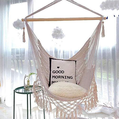 Oscilación de los niños Niños Jóvenes del swing colgantes del asiento oscilación perfecto for interiores Conjuntos de jardín Gym & Swings (Color: blanco-crema, tamaño: El tamaño libre), Tamaño: tamaño