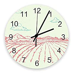 Advancey 12 Inch Wooden Wall Clock Cartoon Country Scenery Quartz Battery Operated Round Silent Non-Ticking Clock Decoration for Bedroon Office Classroom