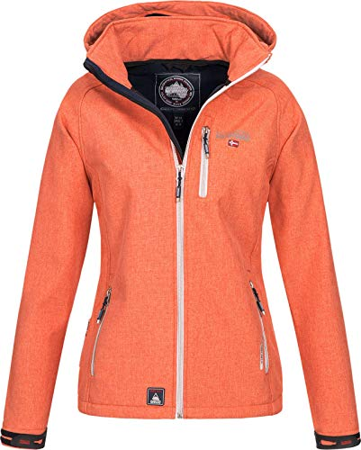 Geographical Norway Damen Funktions Softshelljacke Tassima abnehmbare Kapuze Coral XL