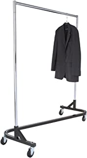 Econoco Commercial Garment Rack (Z Rack) - Rolling Clothes Rack, Z Rack With KD Construction With Durable Square Tubing, Commercial Grade Clothing Rack, Heavy Duty Chrome Commercial Garment Rack - Black
