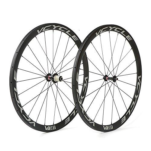 VCYCLE 700C Carbono Bicicleta Ruedas 38mm Tubular UD Mate Ultra Ligero Shimano o Sram 8/9/10/11 Velocidades