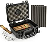 Mrs. Brog Waterproof, Airtight & Durable Travel Cigar Humidor Case - Includes Cigar Cutter & Collapsible Cigar Stand - Holds Up to 20 Cigars with Accessories