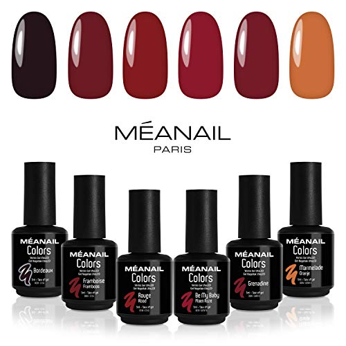 Coffret semi-permanent Rouge • 6 vernis à ongles Colors : Bordeaux, Framboise, Rouge, Be my baby, Grenadine & Marmelade • Compatibles lampe UV/LED ! Méanail Paris • Vegan