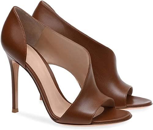 Gasgff Europa Und Amerika Damen Schwarz Braun Fischmaul Super High Heel Sandalen Abendschuhe Mode Damenschuhe