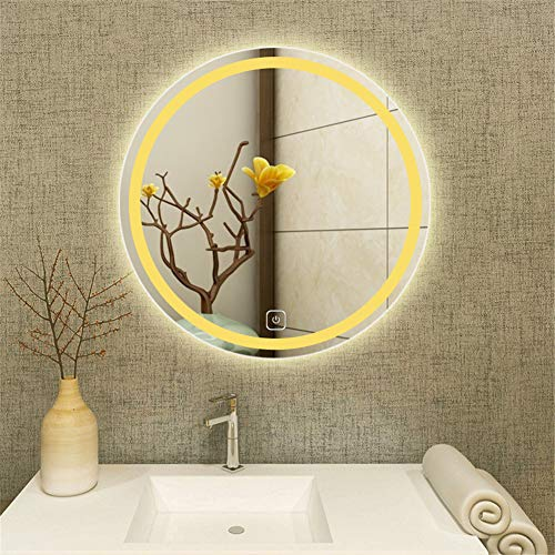 KJUHVBF Espejo de baño con iluminación Smart para Colgar de la Pared antivaho, Redondo, para baño y baño
