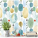 HaokHome 93043 Watercolor Forest Peel and Stick Wood Wallpaper Cute White/Blue/Green Removable for Nursery Decorations 17.7in x 118in