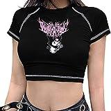Yearinspace Womens Y2K Top Gothic E-Girls Summer Sexy Streetwear Print Harajuku Short Sleeve L