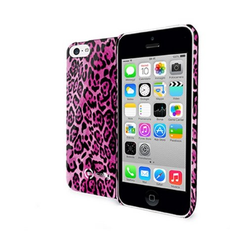 Celly Cover Animalier in TPU per iPhone 5C, Rosa