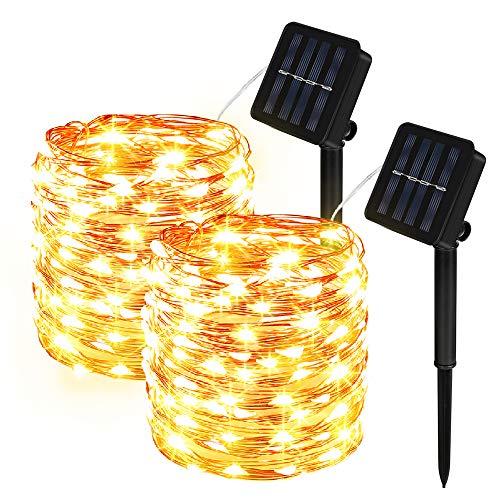 Vivibel Solar Lichterkette Aussen, 2 Stück 100 LED Lichterkette Außen 8 Modi Kupferdraht Wasserdicht Solarbetriebene Dekorative Lichterkette für Garten, Balko, Tor, Hof, Hochzeit, Party - Warmweiß