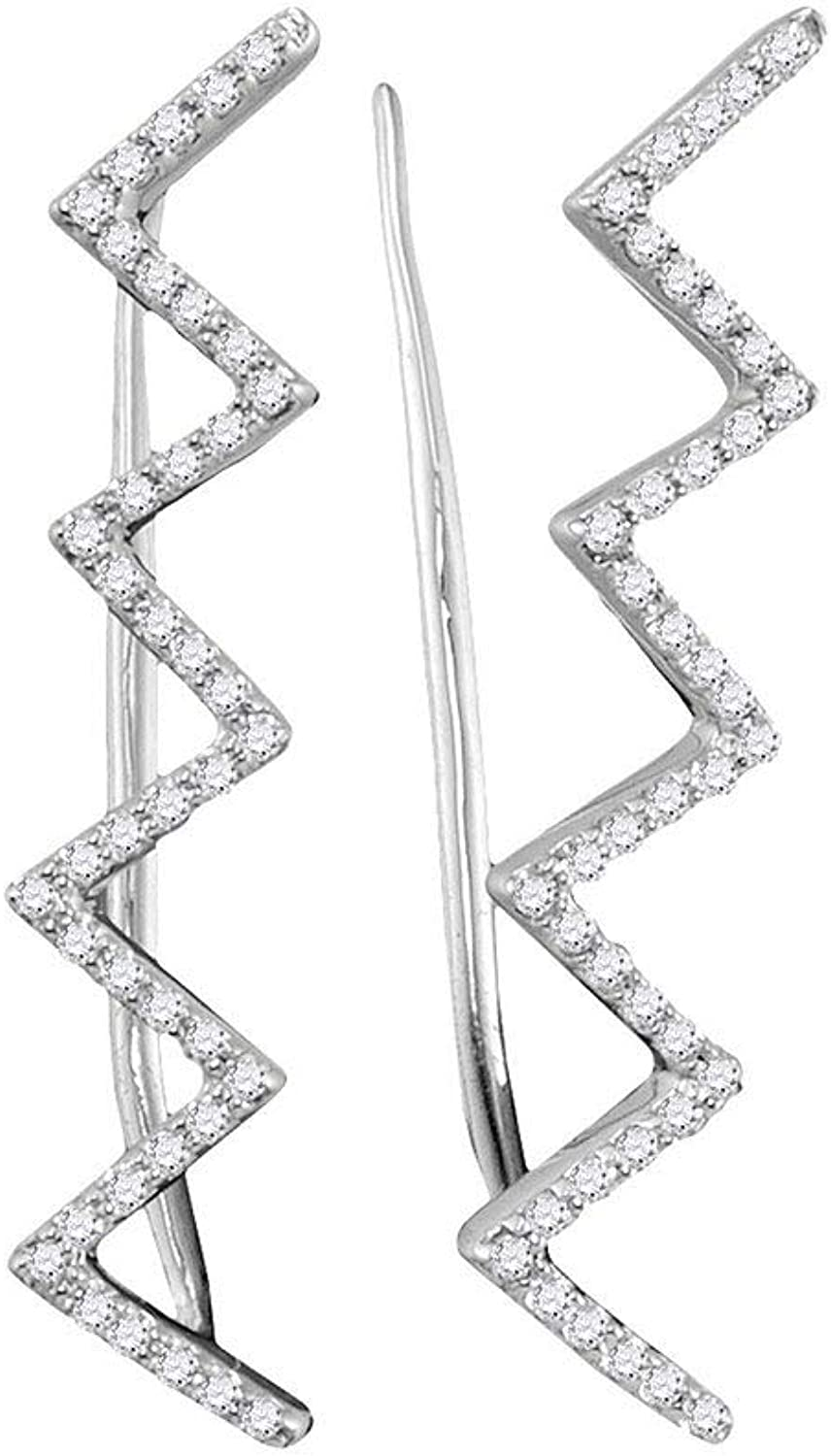 10kt White gold Womens Round Diamond Chevron Climber Earrings 1 5 Cttw