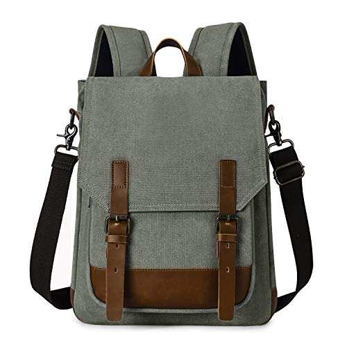 TAK 2 in 1 Canvas Laptop Backpack 15 inch Vintage Messenger Bag with Shoulder Strap for Urban Travel School Daily Outdoor Olive green