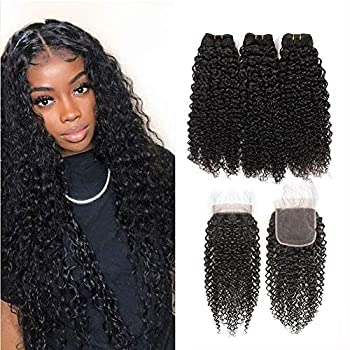 Msjoli Brazilian Virgin Human Curly Hair 3 Bundles With Closure 10 12 14+10 Jerry Curly Hair Weave Bundles With 4X4 Lace Closure Natural Black  10/12/14+10 Bundles With Closure  70g/Bundle