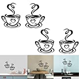 Luckycivia 2 PCS Coffee Tea Cup Art Wall Decal Sticker, Removable DIY Vinyl Mug Decal Wallpaper, Funny Wall Decor for Kitchen Home School Office Shop Cafe Pub Restaurant Hotel Wall Décor 4.7'' x 7.9''