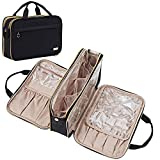 NISHEL Travel Toiletry Bag, Portable Makeup Organizer, Foldable Cosmetic Bag, Travel Cosmetic Case for Full Sized Toiletries, Black