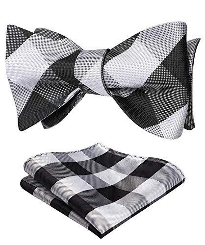 HISDERN Men's Plaid Jacquard Woven Self Bow Tie Set One Size Black/White