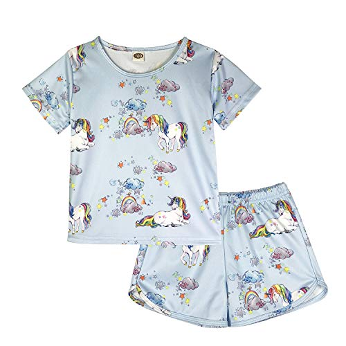 ModaIOO Chicas Unicornio 2 Piezas Conjunto Pijamas Manga Corta(8017,Uni3,100)