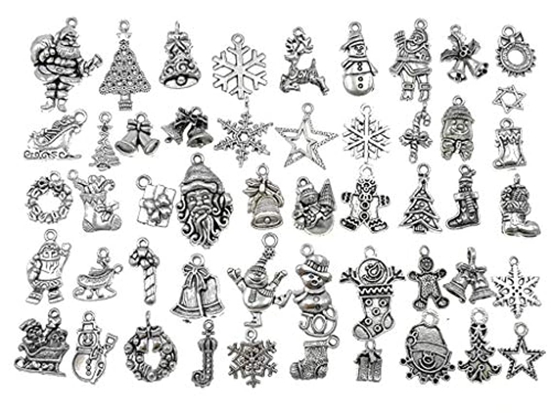 Kinteshun Assorted Christmas Xmas Theme Charm Pendant Connector for Holiday DIY Jewelry Making Accessaries(50pcs,Tibetan Silver Tone)