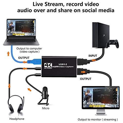 HDMI Capture Card 4K USB 3.0 Game Recorder 1080p 60fps Loop Out Capture Card für PS4 Mac Xbox one Nintendo Videoaufnahmekarte, Capture Card Switch Video Grabber Streaming Zubehör