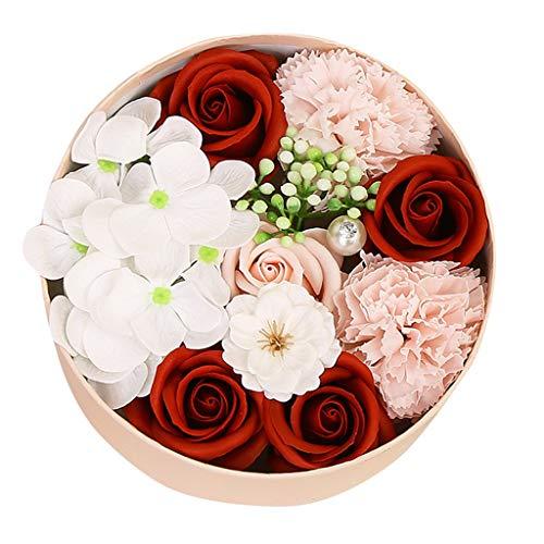 Andouy 1 Schachtel Blumen Duftende Blume Badeseife Plant ätherisches Öl Seife für Jahrestag/Geburtstag/Valentinstag/Muttertag(16.5x16.5x8.5cm.Rot-2)
