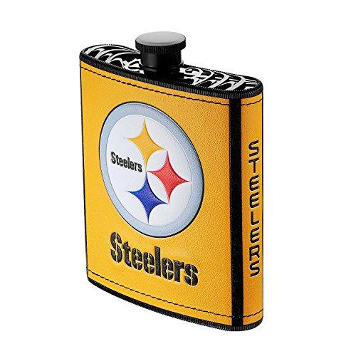 Pro Specialties Group NFL Flachmann, Kunststoff, 200 ml, NFL Pittsburgh Steelers Flachmann aus Kunststoff, 200 ml, PHF-1025, gelb, 7-Ounce